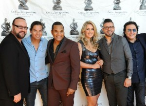 Photo L to R - Music producer & composer Desmond Child , singer/actorJulio Iglesias Jr, salsa singer Alex Matos, Brazilian chef Isa Souza, multiple Grammy winner singer Luis Enrique, and producer/composer Rudy Perez (photo credit - Imani Ogden for MSM)